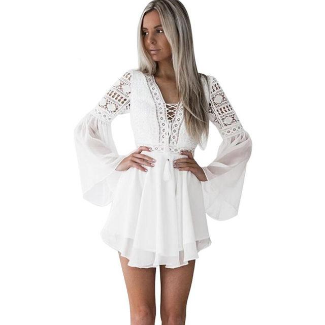 Women's Lace Embroidery Flare Sleeve Mini Dress
