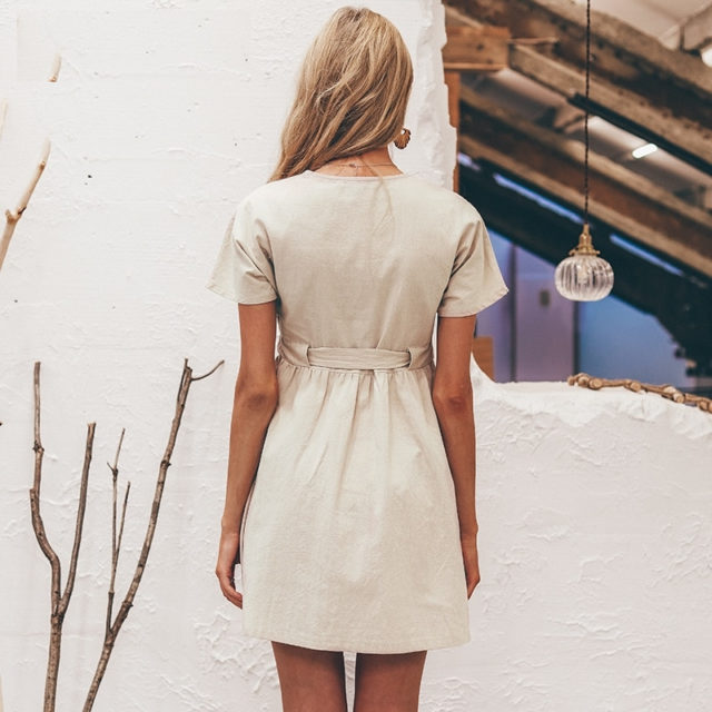 Cotton Casual V-Neck Dress