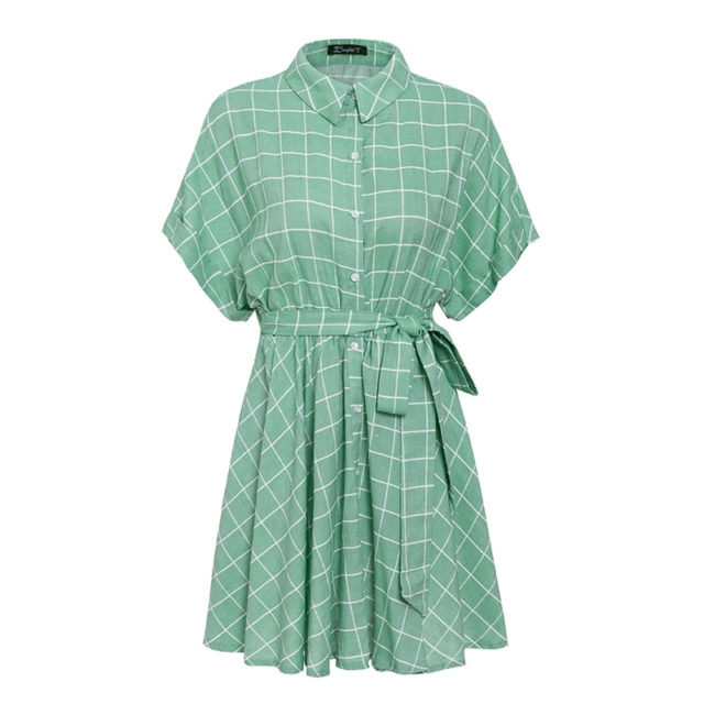 Cotton Light Green Plaid Dress