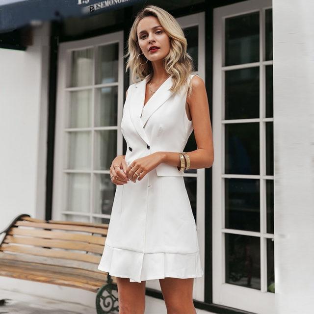 Women's White Blazer Style Office Dress