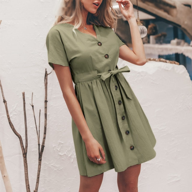 Women's V-Neck Loose Linen Dress
