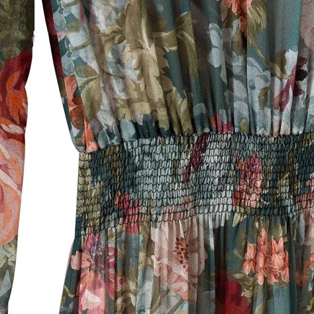 Women's Floral Printed Lantern Sleeved Chiffon Dress