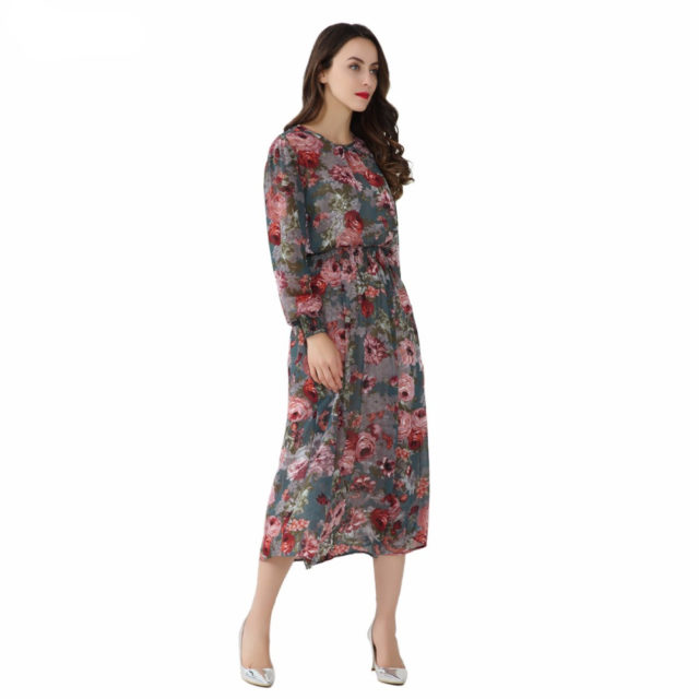 Women's Floral Printed Lantern Sleeved Chiffon Dress