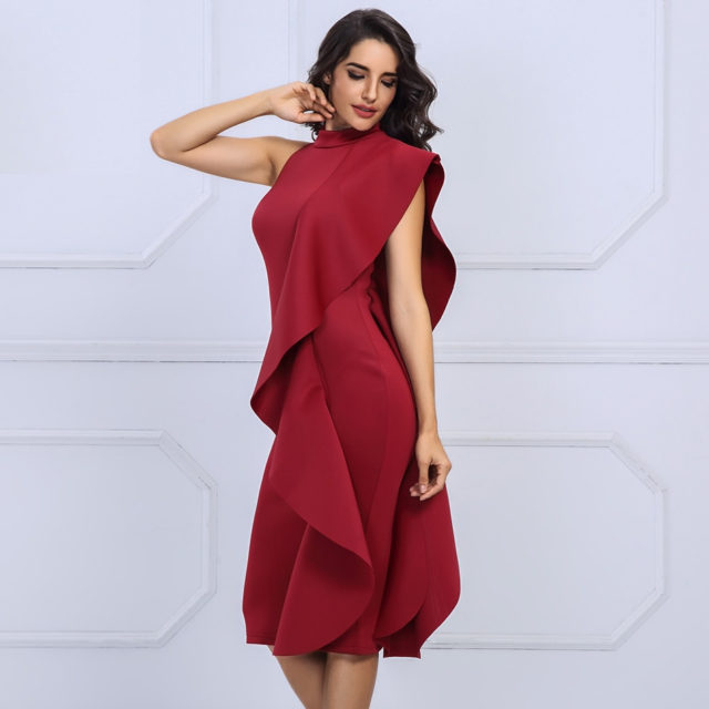 Women's Sleeveless Ruffled Midi Dress