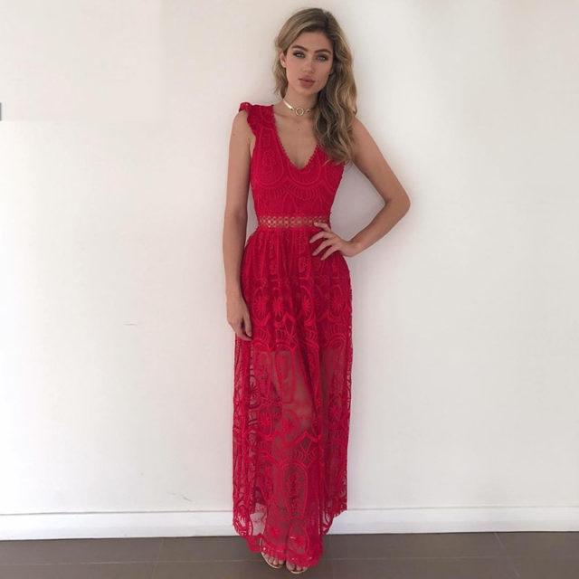 Elegant Sleeveless Transparent Lace Women's Maxi Dress