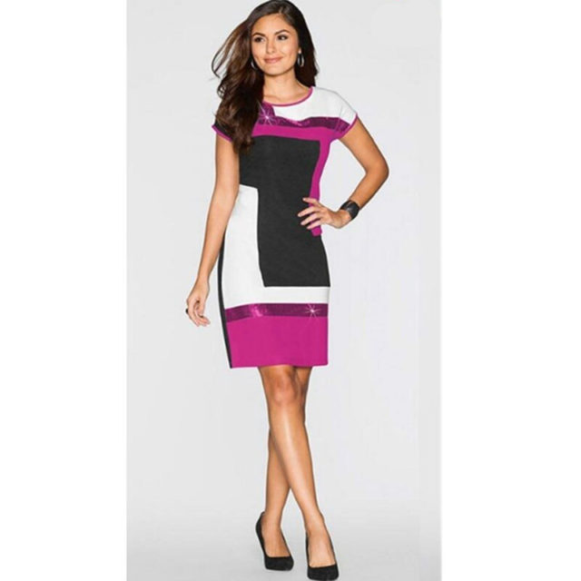 Women's Sequined Geometric Patterned Dress