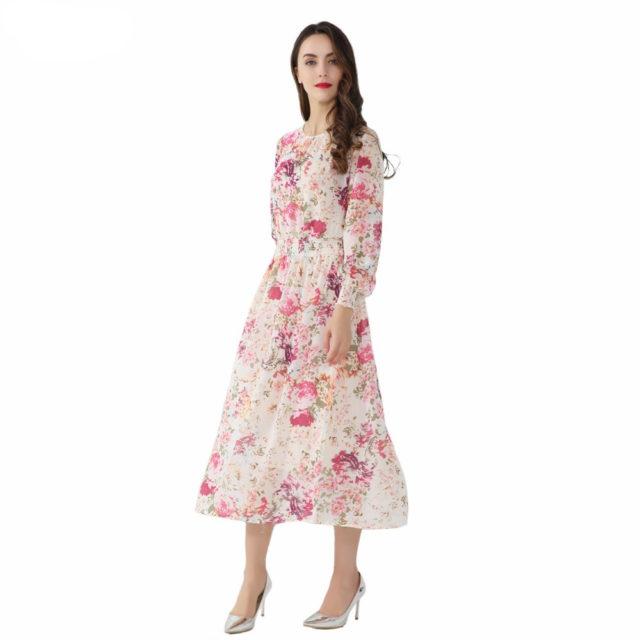 Women's Floral Printed Chiffon Dress