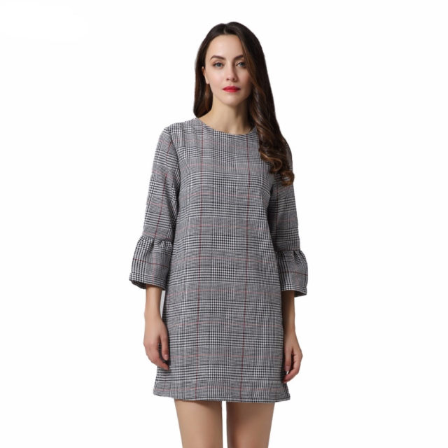 Women's Mid Half Flare Sleeved O-Neck Dress