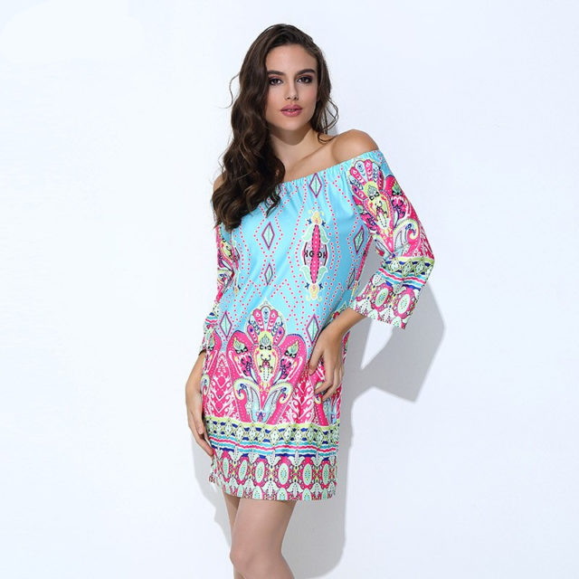 Bohemian Summer Off-Shoulder Bright Women's Tunic Dress