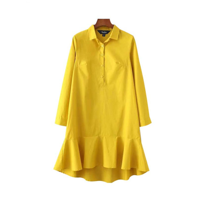 Women's V-Neck Long Sleeve Ruffled Dress