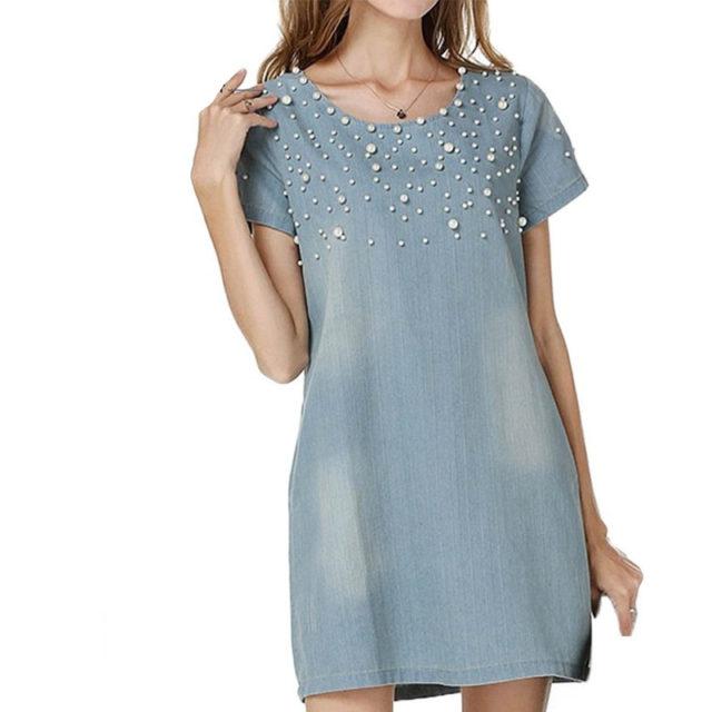 Women's Short Sleeved Beaded Denim Dress