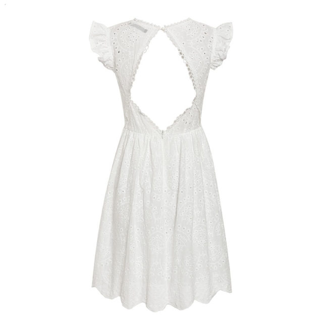 Women's Hollow Out Ruffled Sleeves Dress