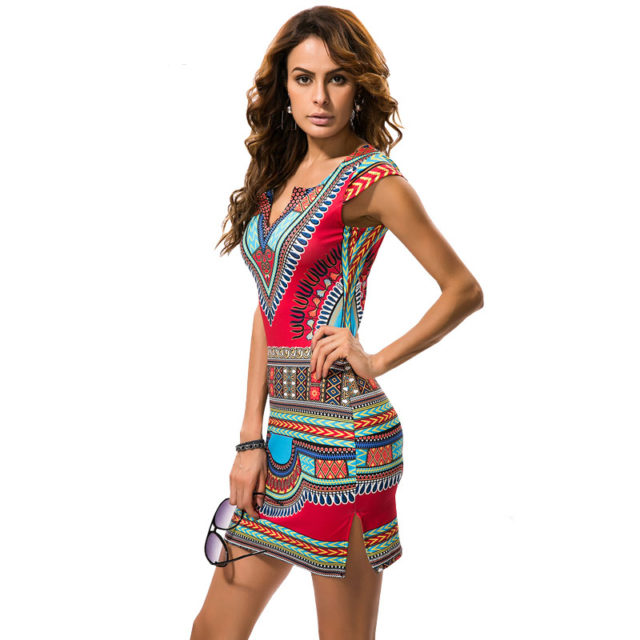 Women's Ethnic Printed V Neck Mini Dress