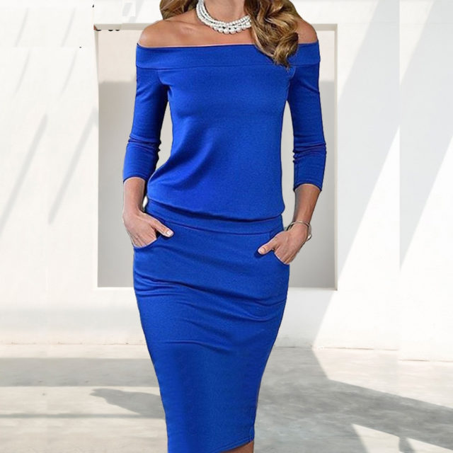 Elegant Off-Shoulder Bright Women's Pencil Dress