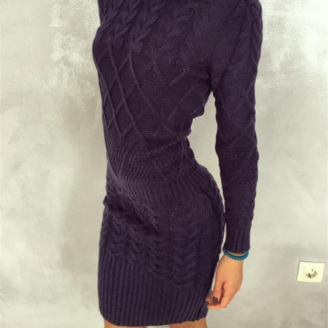 Women's Casual Warm Knitted Dress