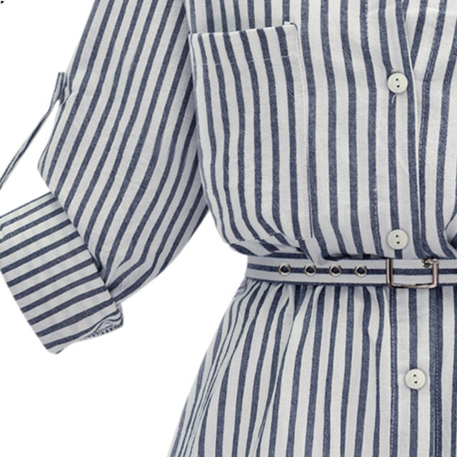 Women's Striped Shirt Dress With Long Sleeves