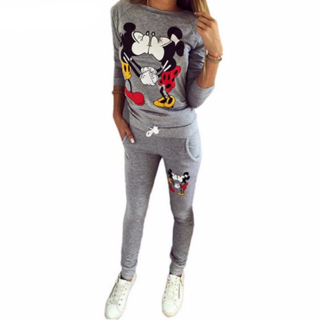 Women's Casual Mickey Mouse Printed Suit