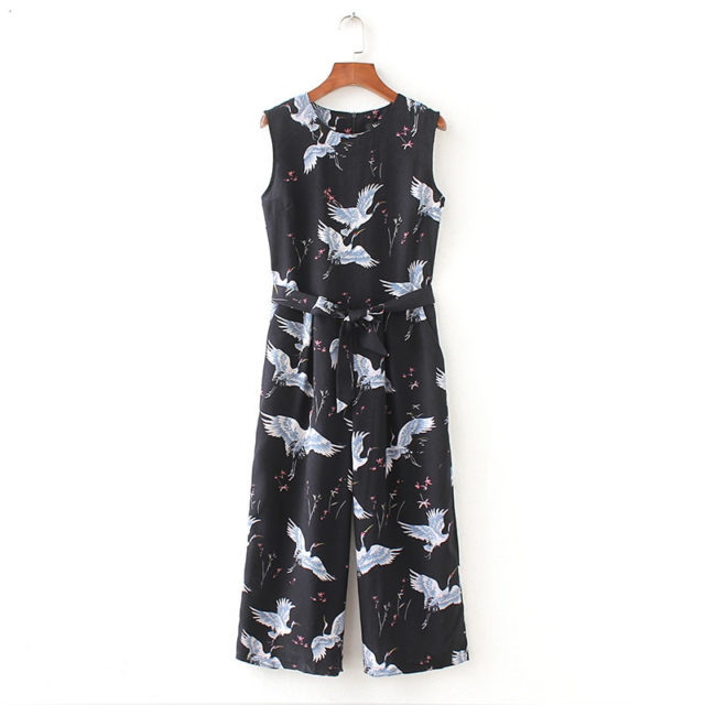 Women's Sleeveless Bird Printed Jumpsuit