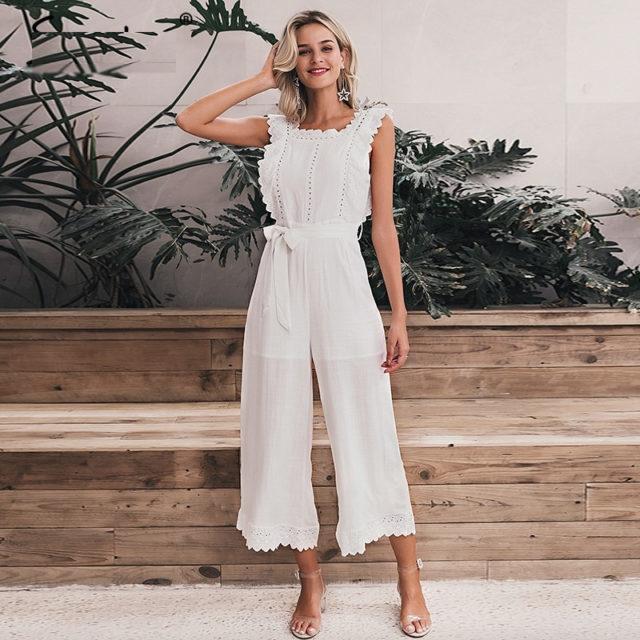Romantic Cotton White Jumpsuit