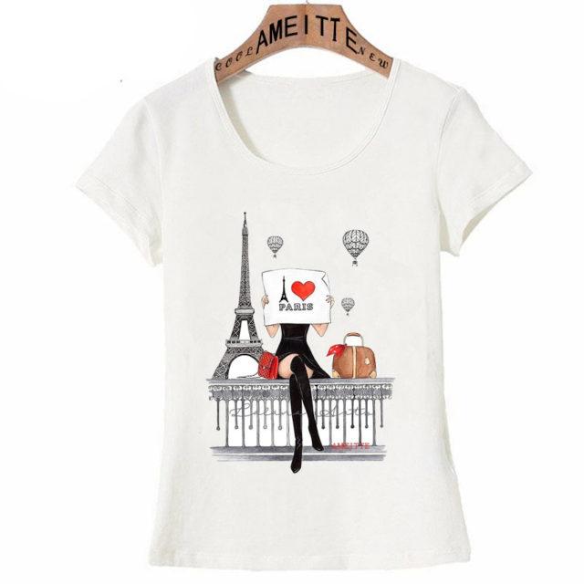 Women's Fashion Paris Themed White T-Shirt