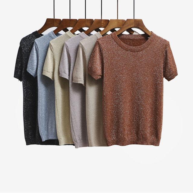 Women's Knitted O-Neck Lurex T-Shirt