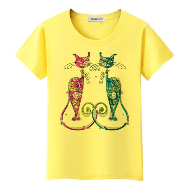Colorful Women's T-Shirt with Cats Print