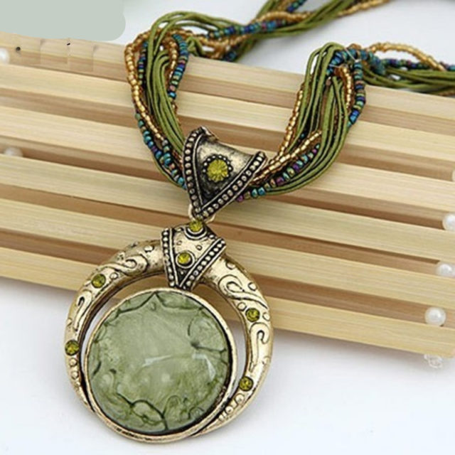 Vintage Women`s Multilayer Necklace with Stone Pendant